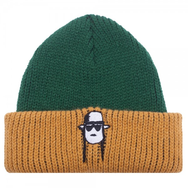 Bonnet Fucking Awesome Spike Beanie Green Yellow