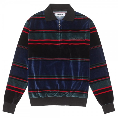 Sweat Shirt Fucking Awesome Block Stripe Velour Quarter Zip Black Blue Red
