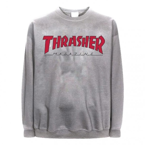 Sweat Thrasher Outlined Crew Ash Grey