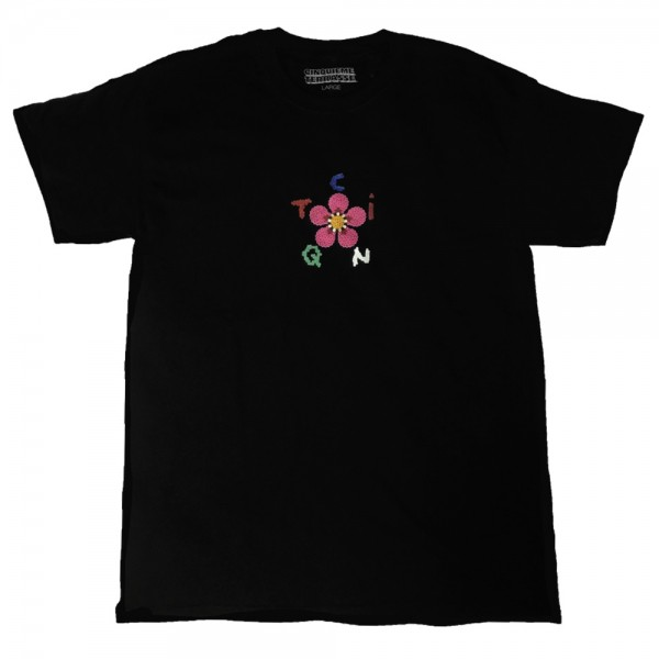 Tee Shirt Cinquieme Terrasse Flower Beaded black
