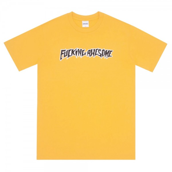 Tee Shirt Fucking Awesome Puff Outline Logo Tee Gold