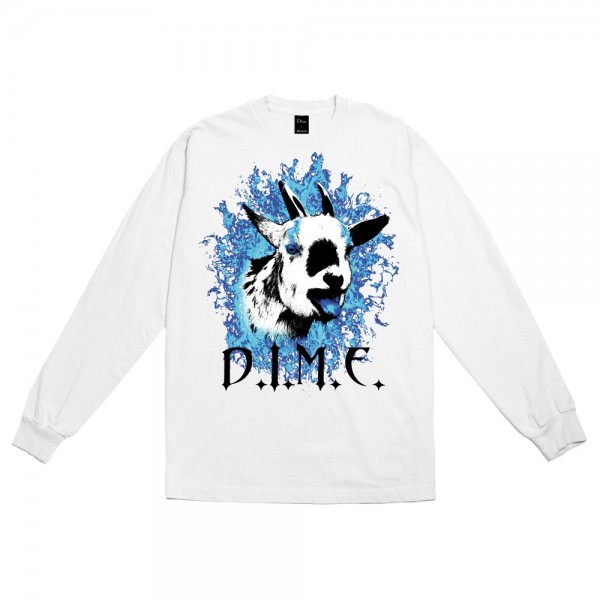 Tee Shirt Manches Longues Dime Fire Goat White