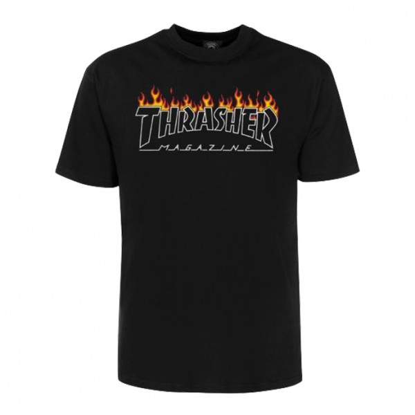Tee Shirt Thrasher Scorched Outline SS Black