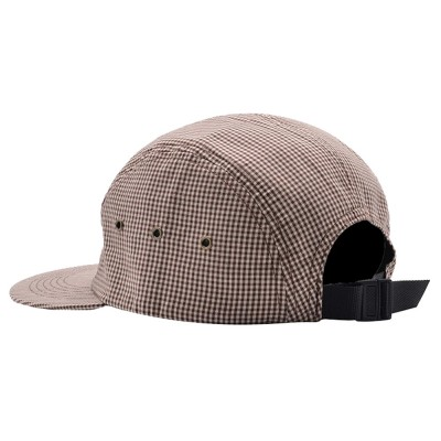 Casquette Pop Trading Company Logo 5 Panel Hat Brown White Gingham