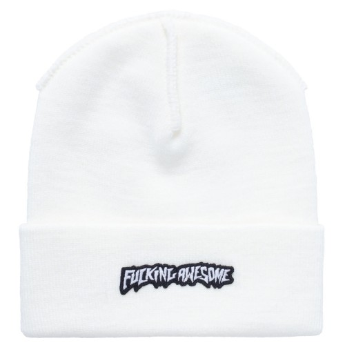 Bonnet Fucking Awesome Little Stamp Cuff Beanie Ivory