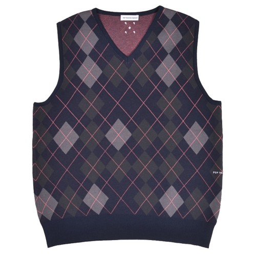 Debardeur Pop Trading Company Burlington Knitted Spencer Vest Navy
