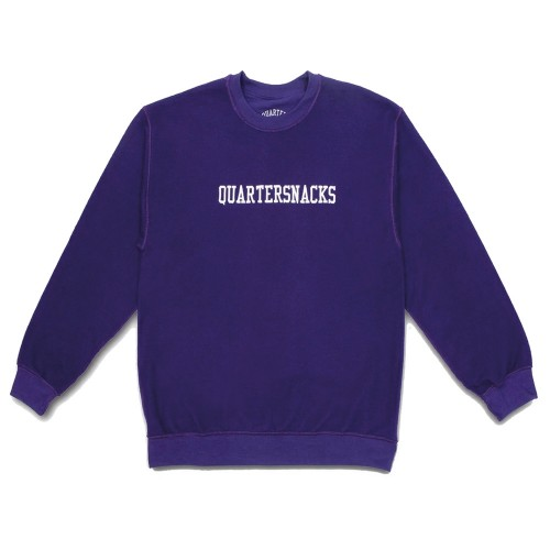 Sweat Quartersnacks Inside Out Embroidered Crew Purple