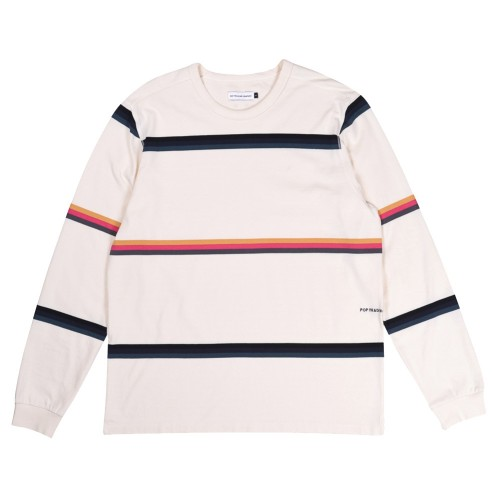 Tee Shirt Manches Longues Pop Trading Company Striped Longsleeve Tee Shirt Off White