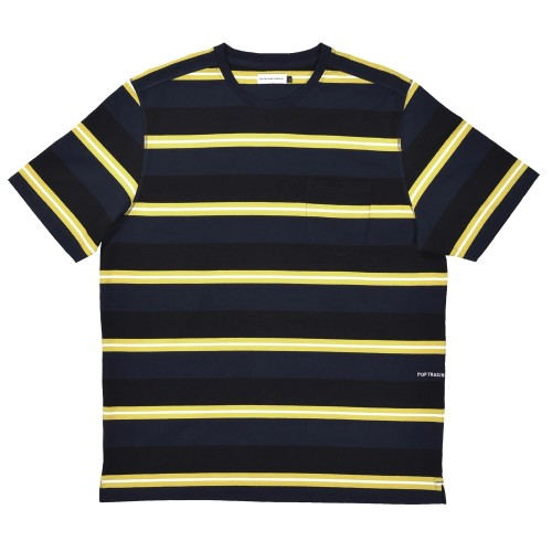 Tee Shirt Pop Trading Company Striped Pocket Tee Shirt Navy Electric Yellow